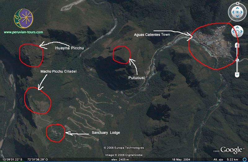 Machu Picchu, map, sketch, Google earth, Putucusi, Huayna Picchu, Aguas Calientes Town, Sanctuary Lodge